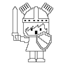 Pixel Character Knight With Sword And Shield For Games Vector Illustration Linear Design