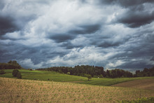 Stormy Cloudscape Over Fields ...
