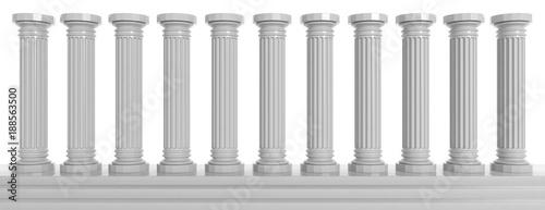 Fototapeta Marble pillars on white background. 3d illustration obraz na płótnie