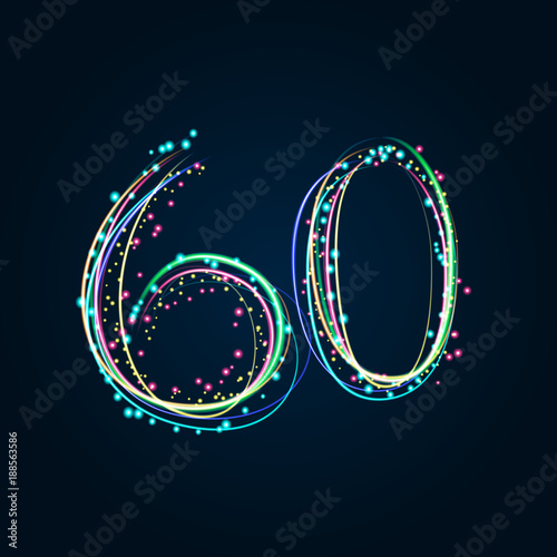 Poster  Neon Light Painting – Number 60