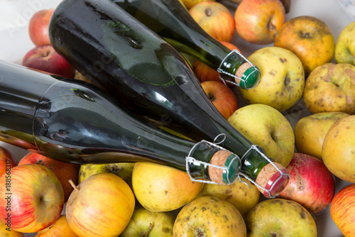 Foto organic fresh apples with bottle of Normandy cider