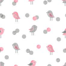 Seamless Pattern With Cute Bir...