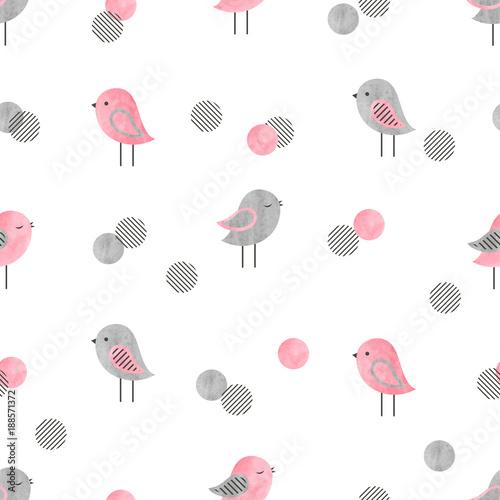 Bezszwowy wzór z ślicznymi ptakami i okręgami. Projekt nadruku dla dzieci.