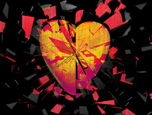 Exploding Broken Heart Abstract