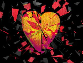 Fototapeta Abstrakcja Exploding broken heart abstract