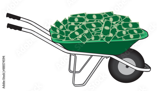 Canvas-taulu A green wheelbarrow filled with cash is ready to be taken away