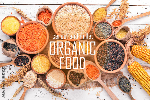 Keuken foto achterwand Assortiment Cereal and millet. Organic food. Buckwheat, lentils, rice, millet, barley, corn, black rice. Top view.