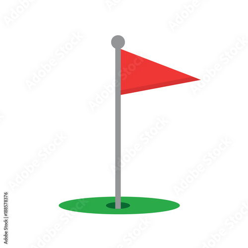 Red golf flag isolated on white background  Golf flag icon  Vector