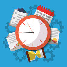 Time Clock Business Work Calendar Icons Vector Illustration