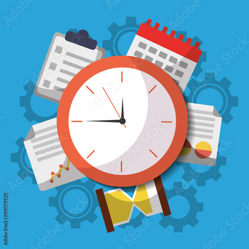 time clock business work calendar icons vector illustration