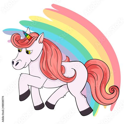Montage in der Fensternische Pony Vector Illustration of Cute Cartoon Brown Unicorn. Flat Color.