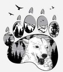 Panel Szklany Góry Animal trail. Bear in the wilderness, double exposure for your design, wildlife concept