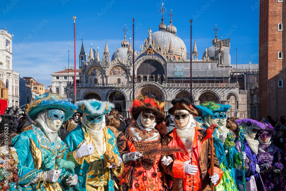 Fototapety, obrazy: Colorful carnival masks at a traditional festival in Venice, Italy