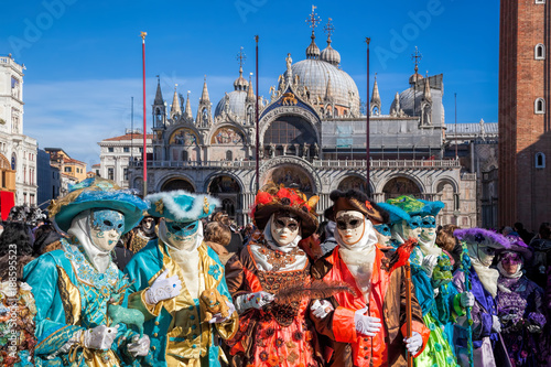Fotobehang Venetie Colorful carnival masks at a traditional festival in Venice, Italy
