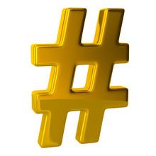 3d Illustration Golden Hashtag...