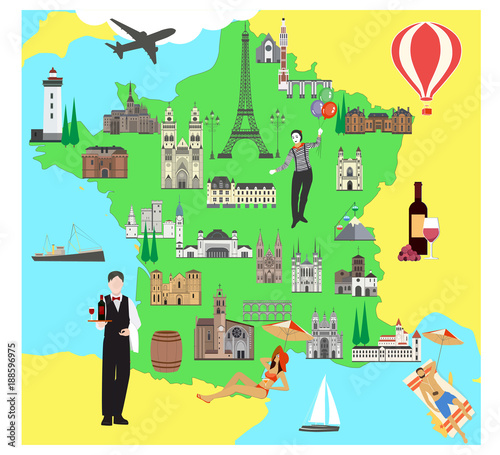 Map Of France For Tourists.France Travel Map With Sights Flat Style Vector Illustration