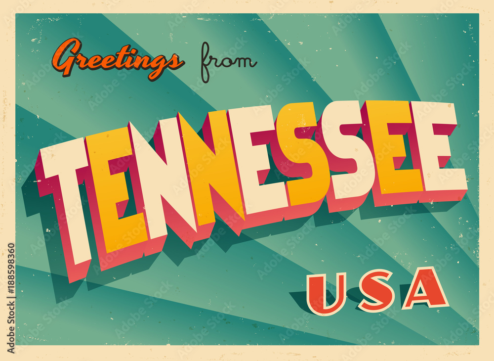 Fototapeta Vintage Touristic Greetings from Tennessee, USA Postcard - Vector EPS10. Grunge effects can be easily removed for a brand new, clean sign.