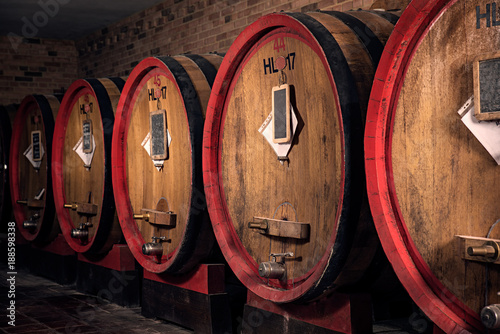 Photo Interior of italian winery with oak barrel for aging wine