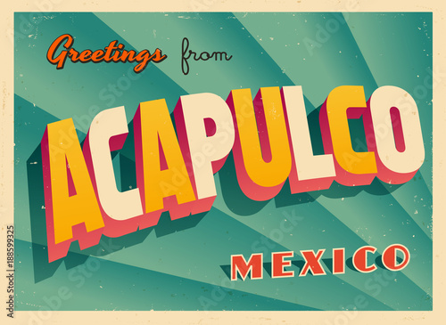 Fotografija  Vintage Touristic Greeting Card - Acapulco, Mexico - Vector EPS10