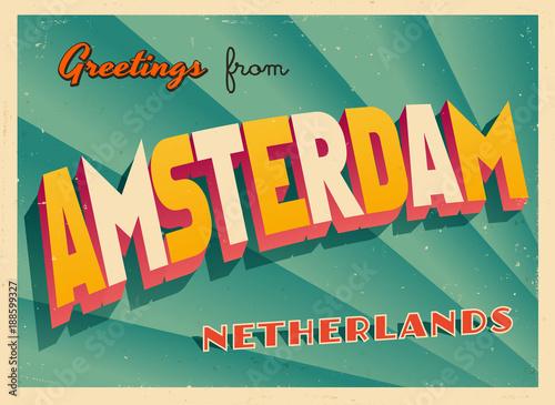 Fototapeta premium Vintage Turystyczny Greeting Card - Amsterdam, Holandia - wektor Eps10. Efekty grunge można łatwo usunąć, aby uzyskać zupełnie nowy, czysty znak.