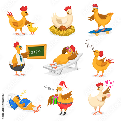 Foto Chicken vector cartoon chick character on Christrmas or Valentines day party and