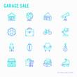 Garage sale, flea market thin line icons set: signboard, globe, telescope,guitar, rollers, armchair, toolbox, soccer ball. Modern vector illustration.