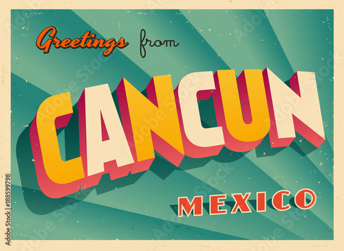 Vintage Touristic Greeting Card Cancun Mexico Vector Eps10