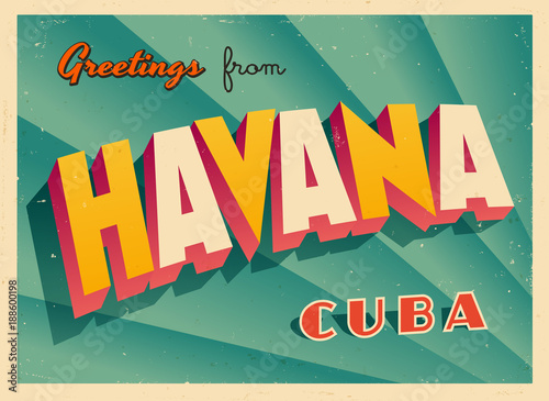 Vintage Touristic Greeting Card - Havana, Cuba - Vector EPS10 Wallpaper Mural