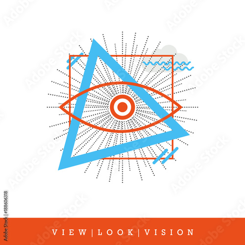 Fényképezés All-seeing Eye, View - Look - Vision Flat Style and Thin Line Icon, Vector Illus