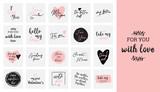 zestaw czarnych, białych i różowych napisów miłosnych, na walentynki plakat projektowy, kartka z życzeniami, album ze zdjęciami, baner, kolekcja ilustracji wektorowych kaligrafii