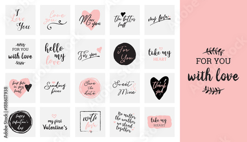 Foto set of black, white and pink love lettering, for valentines day design poster, g