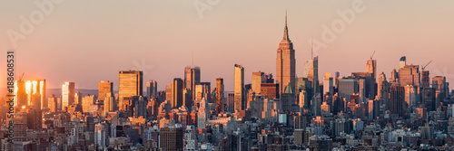 Tela  New York Skyline bei Sonnenuntergang mit Empire State Building, USA