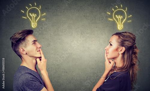 Obraz Content couple having great idea - fototapety do salonu