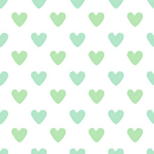 Green Hearts On White Background. Seamless Pattern.