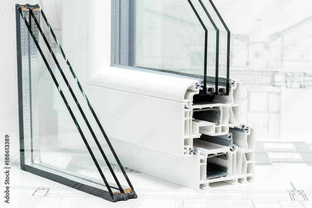 Fototapeta A cross section of window Design of pvc profiles for window, triple glazing cross selection, technical drawing on background