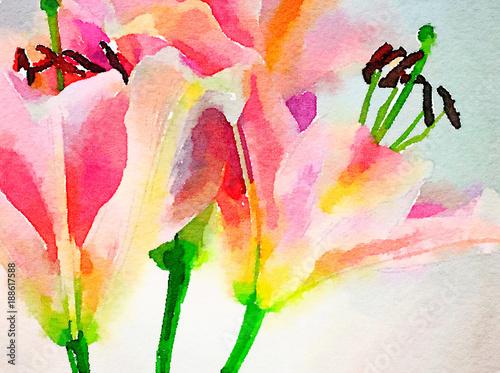 Fotografía  Day Lillies in Watercolor