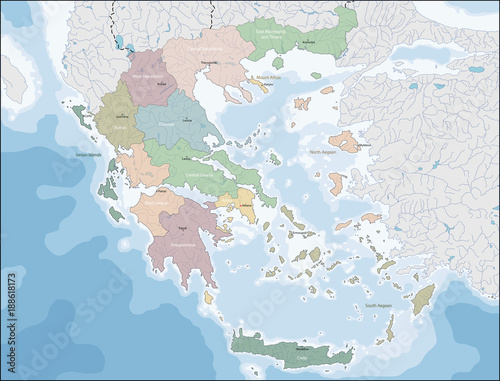 Map of Greece Wallpaper Mural