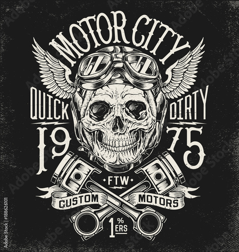 Illustrated motorcycle skull with helmet and goggles. Vintage typography layout.