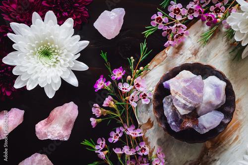 Photo  Amethyst and Rose Quartz