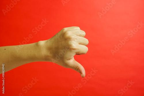 Boo Boo, Booing.  手の表現 ブーイング 赤色背景 Canvas-taulu