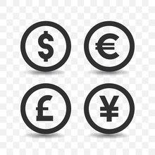 Currency Icon Set With Shadow ...