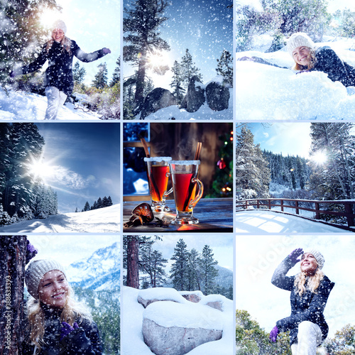 Photo  Portrait of young beautiful woman on winter outdoor background