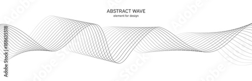 Tuinposter Abstract wave Abstract wave element for design. Digital frequency track equalizer. Stylized line art background. Vector illustration. Wave with lines created using blend tool. Curved wavy line, smooth stripe.
