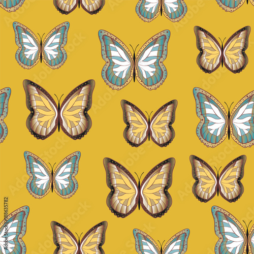Seamless background from bright butterflies. - 188635782