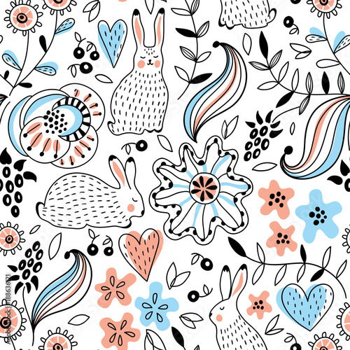 Romantic seamless pattern with rabbits