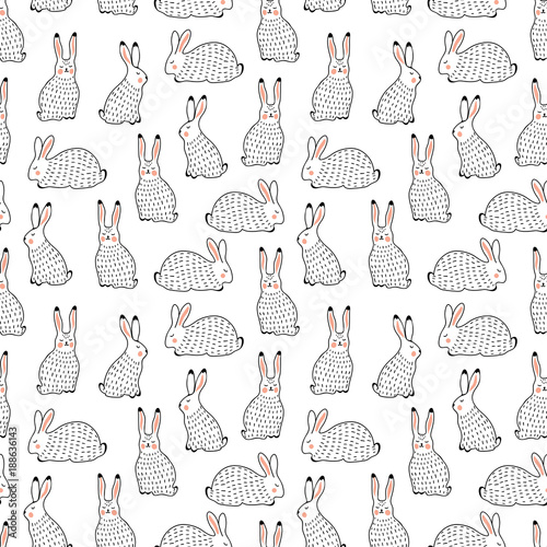 Rabbits vector seamless background