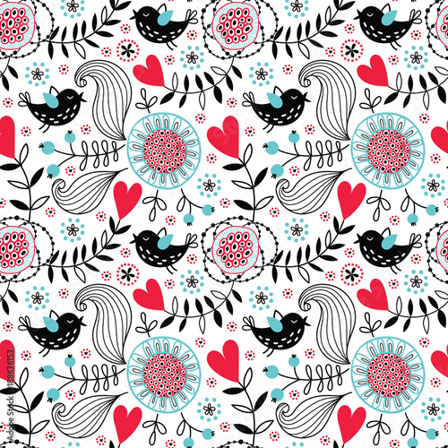 Romantic vector floral seamless pattern