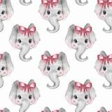 Seamless pattern with elephants. Cute cartoon background 3 - 188637396