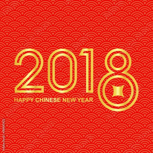 happy chinese new year 2018 background with wealth coin