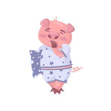 Cute Pig Character Wearing Paj...